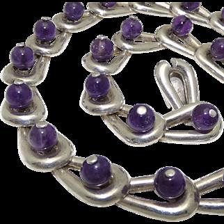 "136Gr Gildardo Juarez Mexican Modernist Amethyst 970 Silver Necklace 17"""