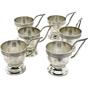 Rare Hector Aguilar Taller Borda Taxco 940 Silver Demitasse Cup Set of Six - Red Tag Sale Item