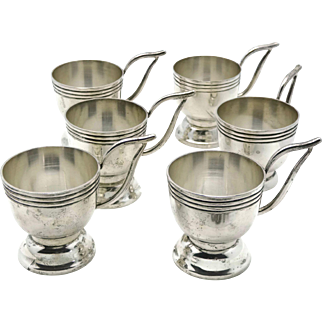 Rare Hector Aguilar Taller Borda Taxco 940 Silver Demitasse Cup Set of Six