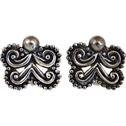 Hilario Lopez Taxco Mexican Sterling Silver Repousse Earrings/Margot de Taxco Molds