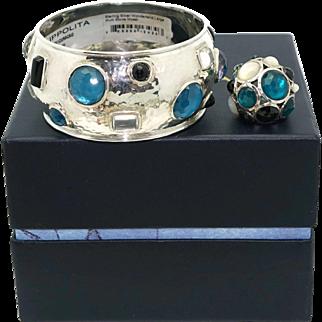 Ippolita Sterling Silver Wonderland Large Multi Stone Mosaic Bangle Bracelet Ring Set