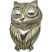 Rare Janna Thomas for Neiman Marcus Mexican Repousse Sterling Silver Owl Pin 2 3/8""