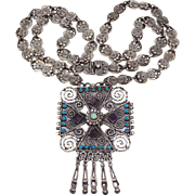 """33"""" Jewel Encrusted Mexican Sterling Silver Necklace 112GR"""