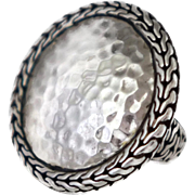 John Hardy Palu Hammered Sterling Silver Round Ring Size 7