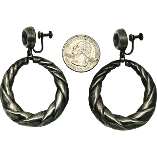 "2 1/2"" 1930's Los Ballesteros Twisted Hoop Sterling Silver Mexican Earrings"