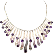 Los Ballesteros Mexican Gemstone Sterling Silver Bib Necklace