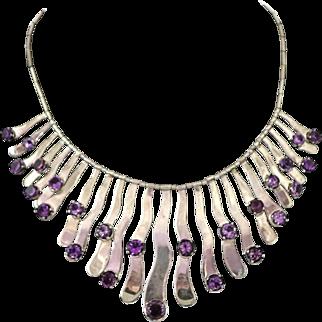 Los Ballesteros Mexican Gemstone Sterling Silver Bib Necklace
