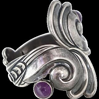 Rare 1940's Los Castillo Amethyst Sterling Silver Repoussé Taxco Mexican Clamper Cuff Bracelet