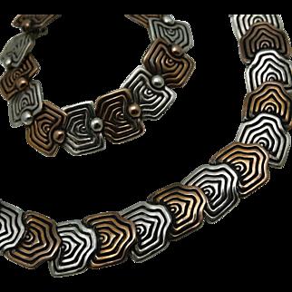 Rare Los Castillo Serpent Scales Taxco Mexican Sterling Silver Copper Necklace Bracelet Parure Book Piece Design