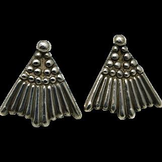 Los Castillo Taxco Mexican Sterling Silver Fan Earrings #658