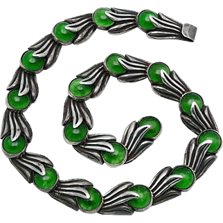 Los Castillo Taxco Mexican Repousse Sterling Silver Green Glass Floral Necklace #468