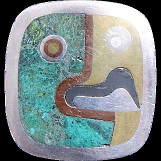 Los Castillo Cubist Parrot Taxco Mexico Sterling Silver Belt Buckle
