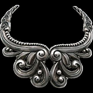 Monumental Los Castillo Taxco Mexican Pectoral Repoussé Sterling Silver Necklace Book-Piece