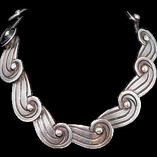 Heavy 1940's Los Castillo Taxco Mexican Swirls Sterling Silver Necklace