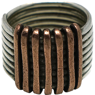 1940's Los Castillo Copper Sterling Silver Wide Taxco Mexican Ring