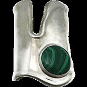 "3 1/2"" Wide Taxco Malachite Mexican Sterling Silver Cuff Bracelet 166GR"