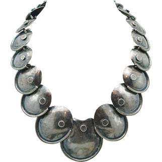 1940's Plateria Manolo Taxco Mexican Sterling Silver Armadillo Necklace