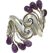 Margot de Taxco Mexican Amethyst Repoussé Sterling Silver Clamper Cuff Bracelet #5147