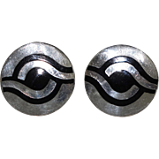 Margot de Taxco Enamel Sterling Silver Mexican Cufflinks