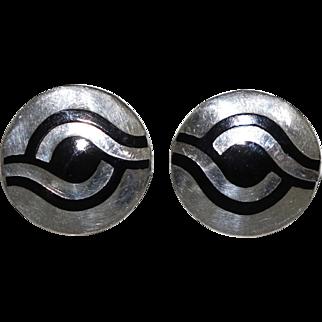 Margot de Taxco Enamel Sterling Silver Mexican Cufflinks