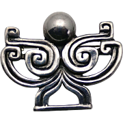 Margot de Taxco Mexican Sterling Silver Deco Design Pin #5348