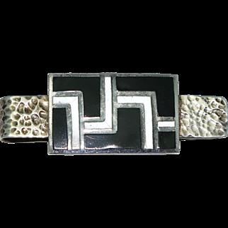 Margot de Taxco Mexican Enamel Sterling Silver Tie Clip # 5639