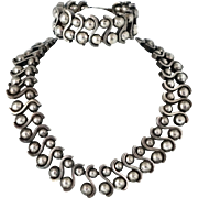 Massive Margot de Taxco Deco Mexican Sterling Silver Necklace / Bracelet Set Mexico