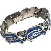 "Margot de Taxco Enamel ""Linear Serpent"" Mexican Sterling Silver Bracelet"
