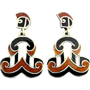 Margot de Taxco 5533 Mexican Open Scroll Enamel Sterling Silver Dangle Earrings Book-Piece Design