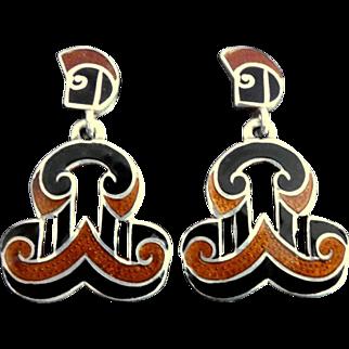 Margot de Taxco 5533 Mexican Open Scroll Enamel Sterling Silver Dangle Earrings Book-Piece Design