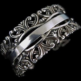 Margot de Taxco Mexican Swirly Sterling Silver Bracelet #5303