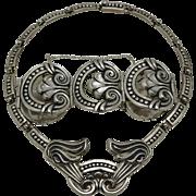 Monumental Margot de Taxco Mexican Repousse Sterling Silver Necklace Bracelet Set