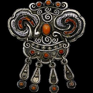 Rare Early Matl Matilde Poulat Coral 930 Silver Repoussé Mexican Pin