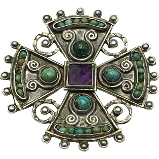 Matl / Matilde Poulat Mexican Amethyst Turquoise Sterling Silver Cross Pendant Eagle Assay 129
