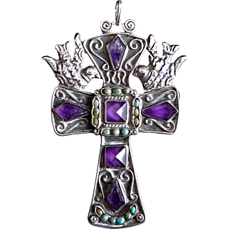Eagle 129 Matl Salas Matilde Poulat Jeweled Palomas Doves Cross Pendant Necklace Mexican Sterling Silver