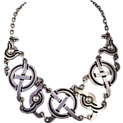 Superb Early Taxco Mexican Mayan Cross Sterling Silver Necklace