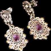 Mexican Amethyst Sterling Silver Dangle Earrings