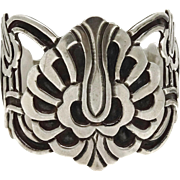 "2"" Wide Early Mexican Deco Design Sterling Silver Cuff Bracelet"