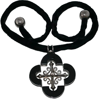 MGI Taxco Mexican Onyx Quatrefoil 970 Silver Necklace
