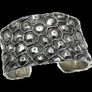 Huge Mimi / Emilia Castillo Wide Taxco Mexican Sterling Silver Cuff Bracelet 115Gr