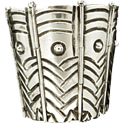 "2 3/4"" Wide Monumental Early Mexican 221Gr Sterling Silver Bracelet"