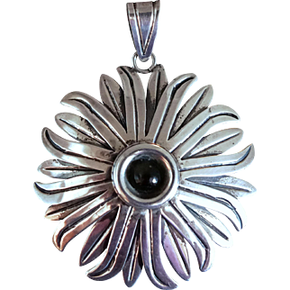 Large Signed Taxco Mexican Obsidian Sterling Silver Flower Pendant
