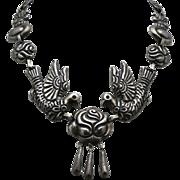 """21"""" Huge 1930's Palomas y Rosas Mexican Silver Necklace 100Gr"""