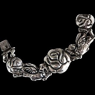 Early Mexican Rosas de Palomas Roses Doves Repoussé Silver Bracelet