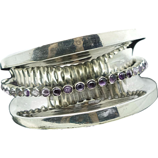 161GR Superb Mexican Arched Sterling Silver Concave Cuff with Raised Amethyst Cabochons