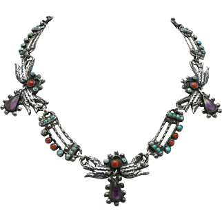 Plateria Cecelia Mexican Jeweled Repoussé Doves Sterling Silver Necklace