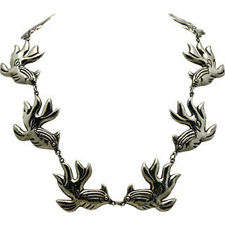 """Early Mexican Repousse Silver Koi Fish Necklace 20"""""""