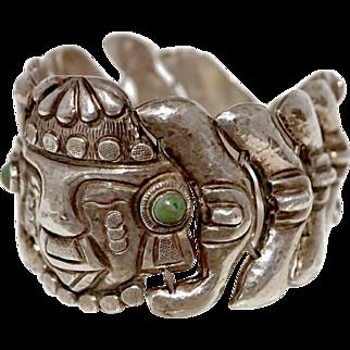 1930's Mexican 980 Silver Repousse Scales Bracelet