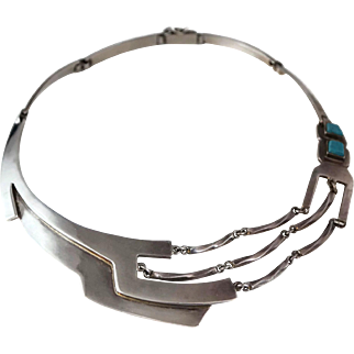 """Stunning Erika Hult de Corral """"Ric"""" Taxco Mexican Turquoise Sterling Silver Necklace"""