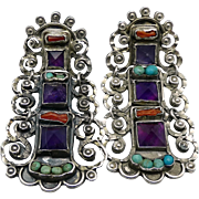 """2"""" Rivera Mexican Amethyst Turquoise Coral Jeweled Sterling Silver Earrings"""